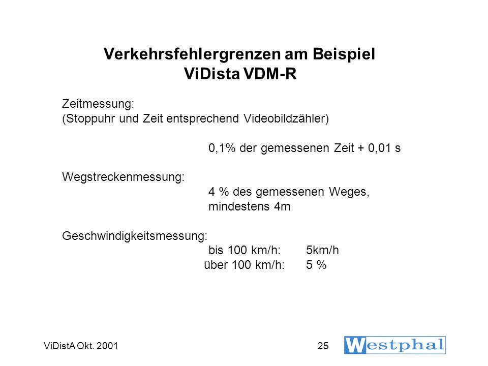 ViDistA Okt. 200125 Verkehrsfehlergrenzen am Beispiel ViDista VDM-R Zeitmessung: (Stoppuhr und Zeit entsprechend Videobildzähler) 0,1% der gemessenen