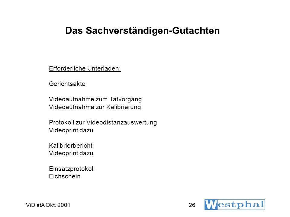 ViDistA Okt. 200126 Das Sachverständigen-Gutachten Erforderliche Unterlagen: Gerichtsakte Videoaufnahme zum Tatvorgang Videoaufnahme zur Kalibrierung