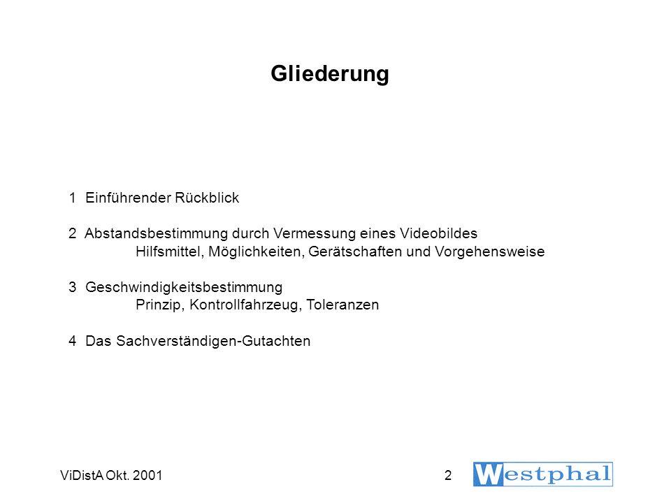ViDistA Okt. 20012 Gliederung 1 Einführender Rückblick 2 Abstandsbestimmung durch Vermessung eines Videobildes Hilfsmittel, Möglichkeiten, Gerätschaft