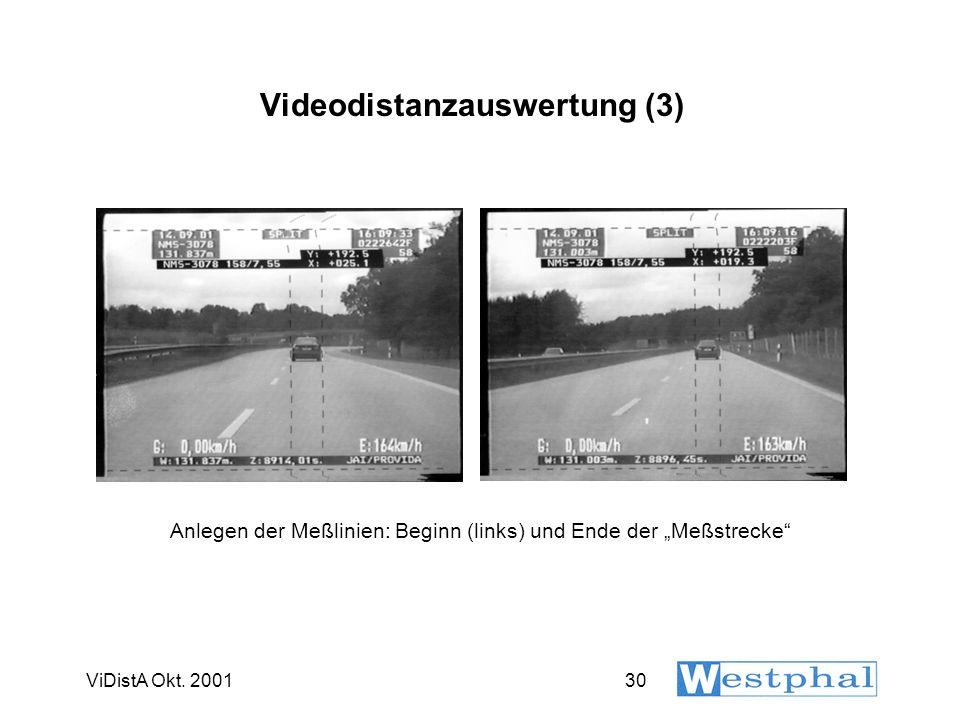 ViDistA Okt. 200130 Videodistanzauswertung (3) Anlegen der Meßlinien: Beginn (links) und Ende der Meßstrecke