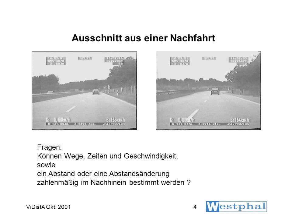 ViDistA Okt. 20014 Ausschnitt aus einer Nachfahrt Fragen: Können Wege, Zeiten und Geschwindigkeit, sowie ein Abstand oder eine Abstandsänderung zahlen