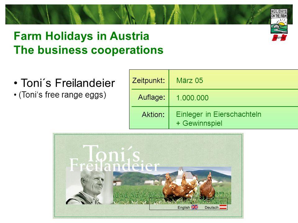 Toni´s Freilandeier (Tonis free range eggs) März 05 1.000.000 Einleger in Eierschachteln + Gewinnspiel Zeitpunkt: Auflage: Aktion: Farm Holidays in Austria The business cooperations