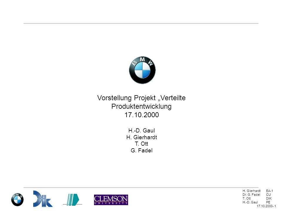 H. GierhardtEA-1 Dr. G. FadelCU T. OttDIK H.-D. GaulPE 17.10.2000- 1 Vorstellung Projekt Verteilte Produktentwicklung 17.10.2000 H.-D. Gaul H. Gierhar