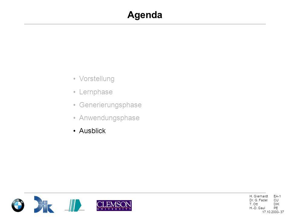 H. GierhardtEA-1 Dr. G. FadelCU T. OttDIK H.-D. GaulPE 17.10.2000- 37 Agenda Vorstellung Lernphase Generierungsphase Anwendungsphase Ausblick