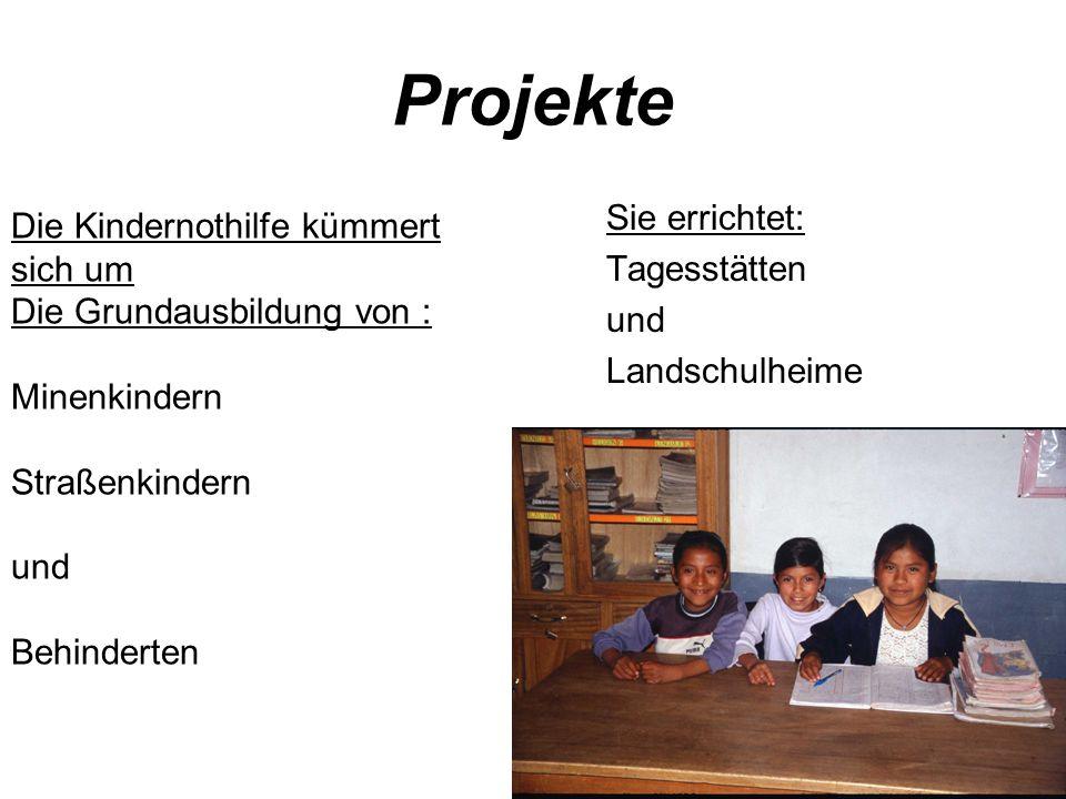 Projekte Sie errichtet: Tagesstätten und Landschulheime Die Kindernothilfe kümmert sich um Die Grundausbildung von : Minenkindern Straßenkindern und Behinderten