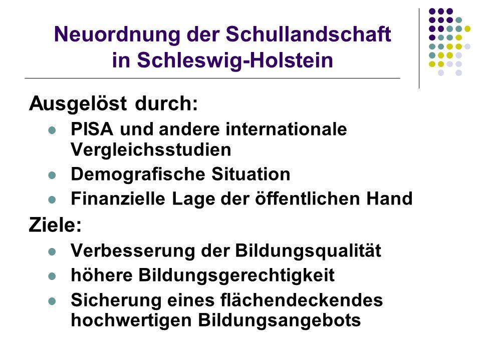 Neuordnung der Schullandschaft in Schleswig-Holstein Ausgelöst durch: PISA und andere internationale Vergleichsstudien Demografische Situation Finanzi