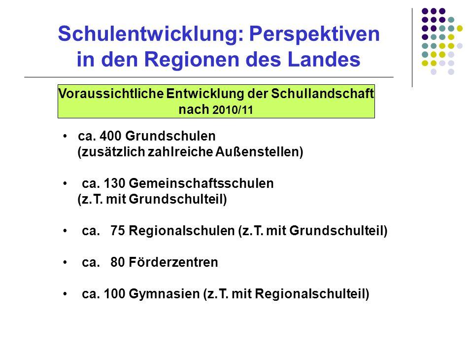 Schulentwicklung: Perspektiven in den Regionen des Landes ca. 400 Grundschulen (zusätzlich zahlreiche Außenstellen) ca. 130 Gemeinschaftsschulen (z.T.