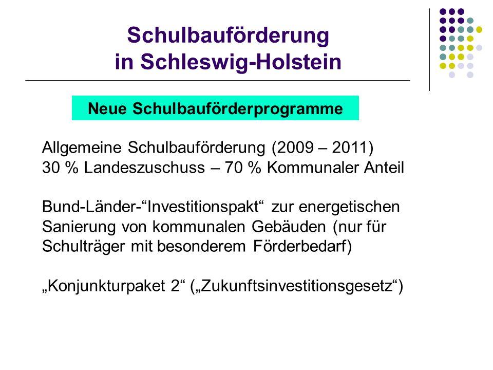 Schulbauförderung in Schleswig-Holstein Neue Schulbauförderprogramme Allgemeine Schulbauförderung (2009 – 2011) 30 % Landeszuschuss – 70 % Kommunaler