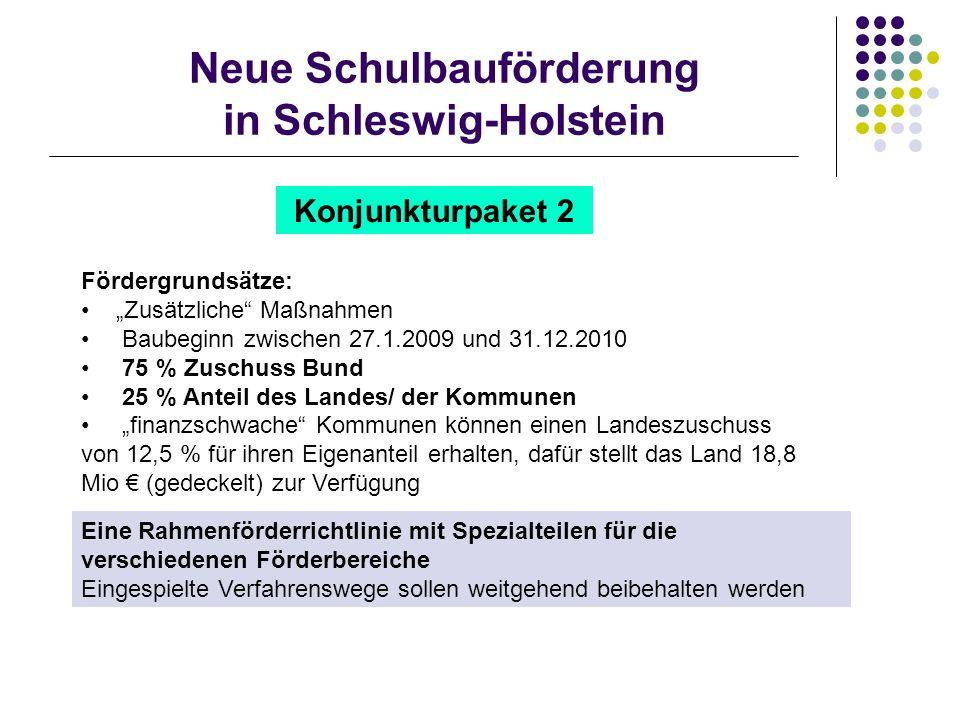 Neue Schulbauförderung in Schleswig-Holstein Konjunkturpaket 2 Fördergrundsätze: Zusätzliche Maßnahmen Baubeginn zwischen 27.1.2009 und 31.12.2010 75