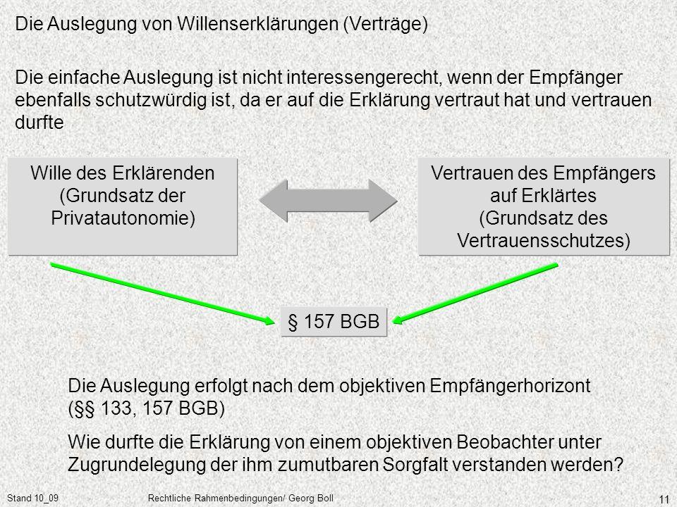 Stand 10_09Rechtliche Rahmenbedingungen/ Georg Boll 11 Die einfache Auslegung ist nicht interessengerecht, wenn der Empfänger ebenfalls schutzwürdig i