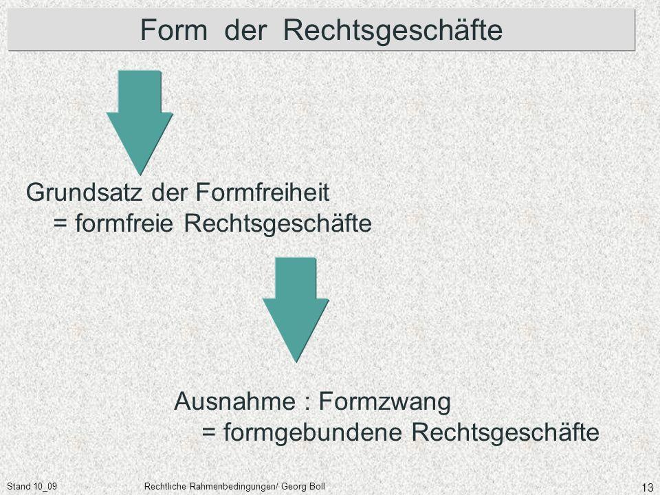 Stand 10_09Rechtliche Rahmenbedingungen/ Georg Boll 13 Form der Rechtsgeschäfte Grundsatz der Formfreiheit = formfreie Rechtsgeschäfte Ausnahme : Form