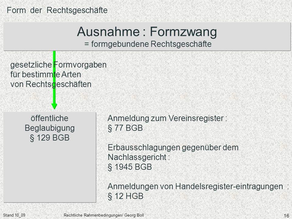 Stand 10_09Rechtliche Rahmenbedingungen/ Georg Boll 16 Form der Rechtsgeschäfte öffentliche Beglaubigung § 129 BGB Ausnahme : Formzwang = formgebunden