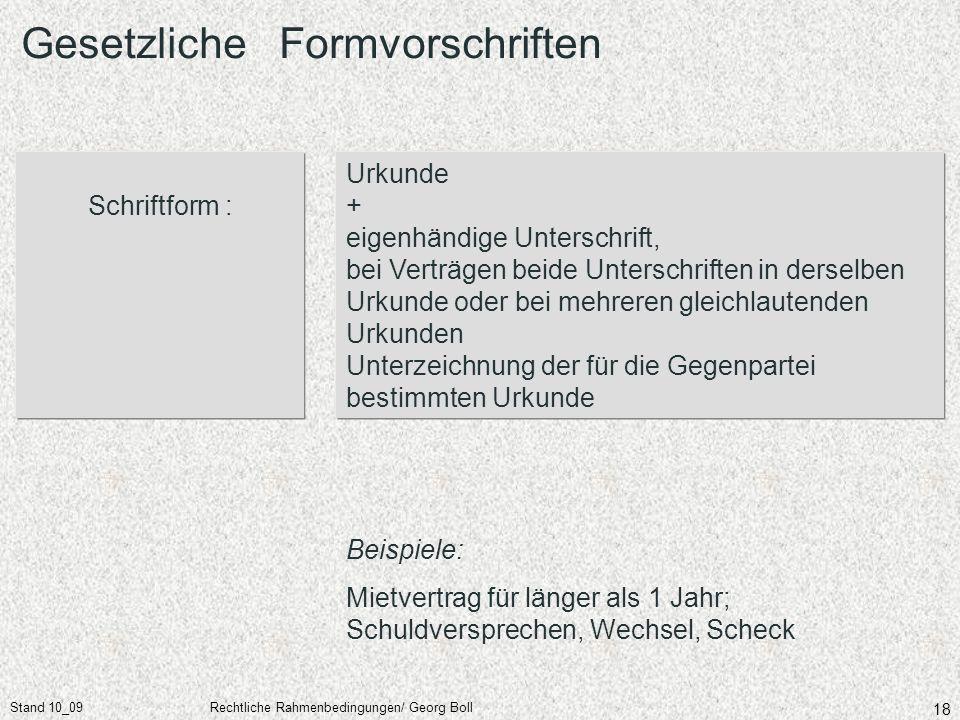 Stand 10_09Rechtliche Rahmenbedingungen/ Georg Boll 18 Schriftform : Urkunde + eigenhändige Unterschrift, bei Verträgen beide Unterschriften in dersel