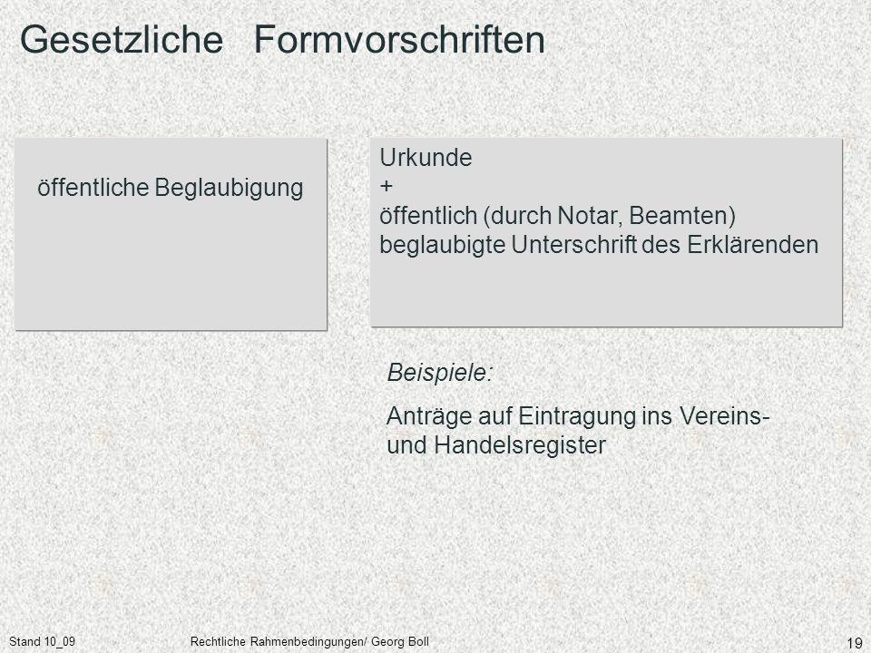 Stand 10_09Rechtliche Rahmenbedingungen/ Georg Boll 19 öffentliche Beglaubigung Urkunde + öffentlich (durch Notar, Beamten) beglaubigte Unterschrift d