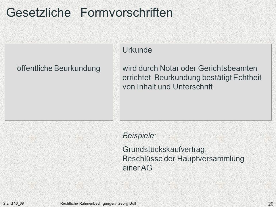 Stand 10_09Rechtliche Rahmenbedingungen/ Georg Boll 20 öffentliche Beurkundung Urkunde wird durch Notar oder Gerichtsbeamten errichtet. Beurkundung be