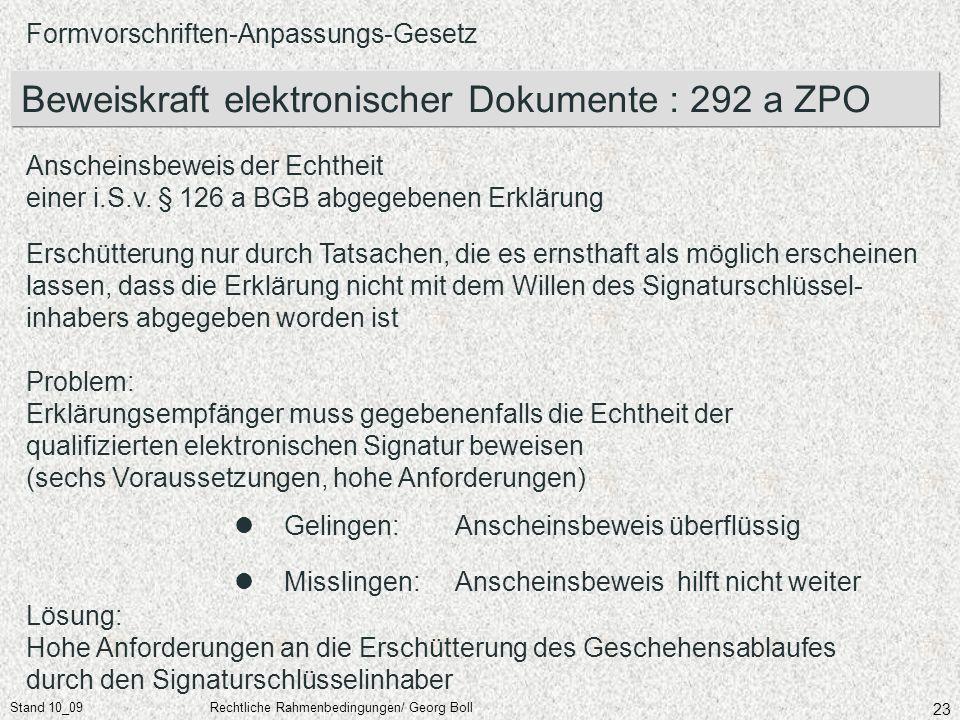 Stand 10_09Rechtliche Rahmenbedingungen/ Georg Boll 23 Formvorschriften-Anpassungs-Gesetz Beweiskraft elektronischer Dokumente : 292 a ZPO Anscheinsbe