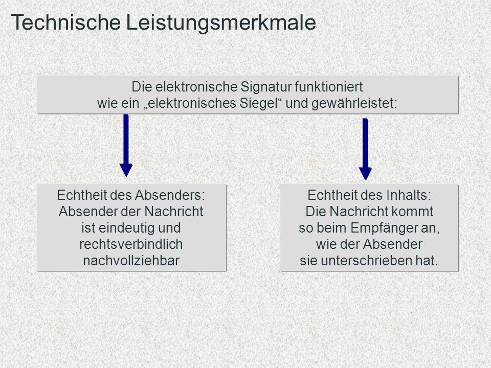 Technische Leistungsmerkmale Die elektronische Signatur funktioniert wie ein elektronisches Siegel und gewährleistet: Echtheit des Absenders: Absender