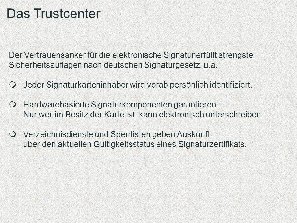 Der Vertrauensanker für die elektronische Signatur erfüllt strengste Sicherheitsauflagen nach deutschen Signaturgesetz, u.a. Jeder Signaturkarteninhab