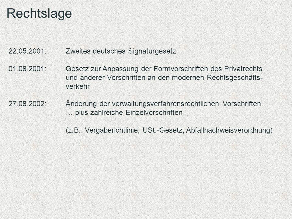Rechtslage 22.05.2001: Zweites deutsches Signaturgesetz 01.08.2001: Gesetz zur Anpassung der Formvorschriften des Privatrechts und anderer Vorschrifte