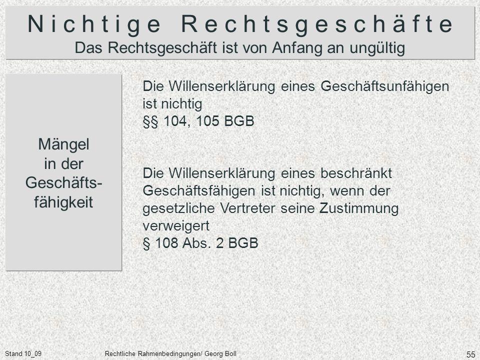 Stand 10_09Rechtliche Rahmenbedingungen/ Georg Boll 55 N i c h t i g e R e c h t s g e s c h ä f t e Das Rechtsgeschäft ist von Anfang an ungültig Män