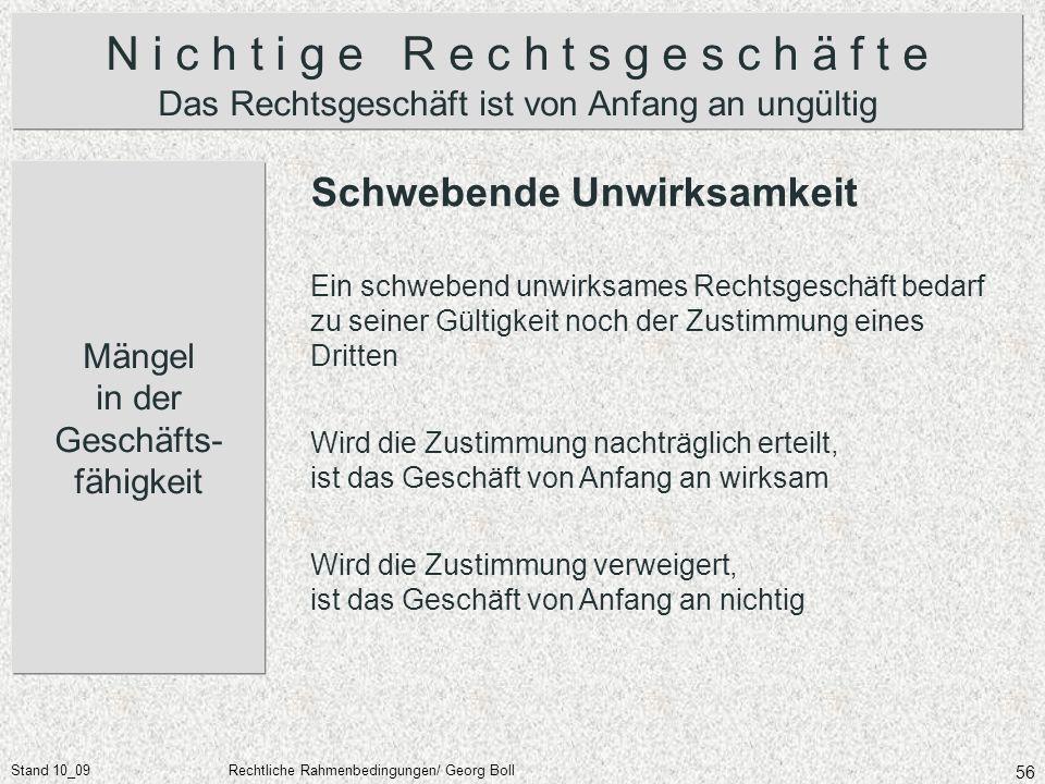 Stand 10_09Rechtliche Rahmenbedingungen/ Georg Boll 56 N i c h t i g e R e c h t s g e s c h ä f t e Das Rechtsgeschäft ist von Anfang an ungültig Män