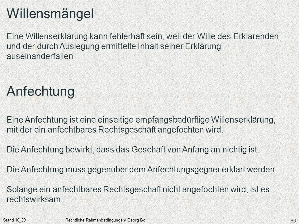 Stand 10_09Rechtliche Rahmenbedingungen/ Georg Boll 60 Willensmängel Eine Willenserklärung kann fehlerhaft sein, weil der Wille des Erklärenden und de