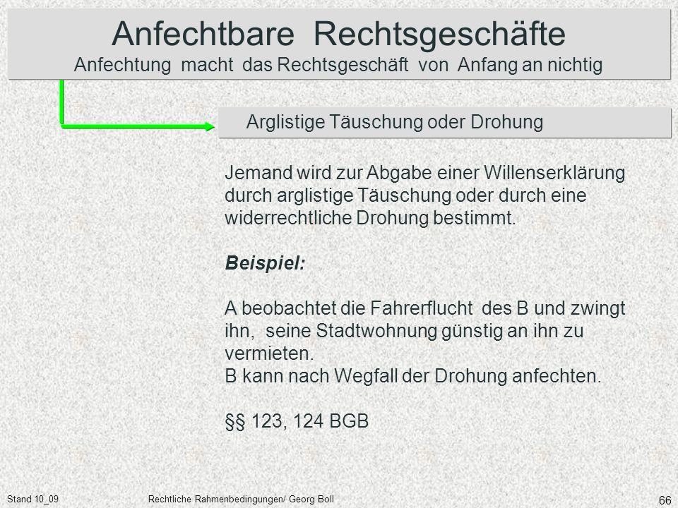 Stand 10_09Rechtliche Rahmenbedingungen/ Georg Boll 66 Arglistige Täuschung oder Drohung Anfechtbare Rechtsgeschäfte Anfechtung macht das Rechtsgeschä