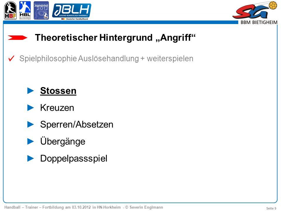 Handball – Trainer – Fortbildung am 03.10.2012 in HN-Horkheim - © Severin Englmann Seite 9 Theoretischer Hintergrund Angriff Spielphilosophie Auslöseh