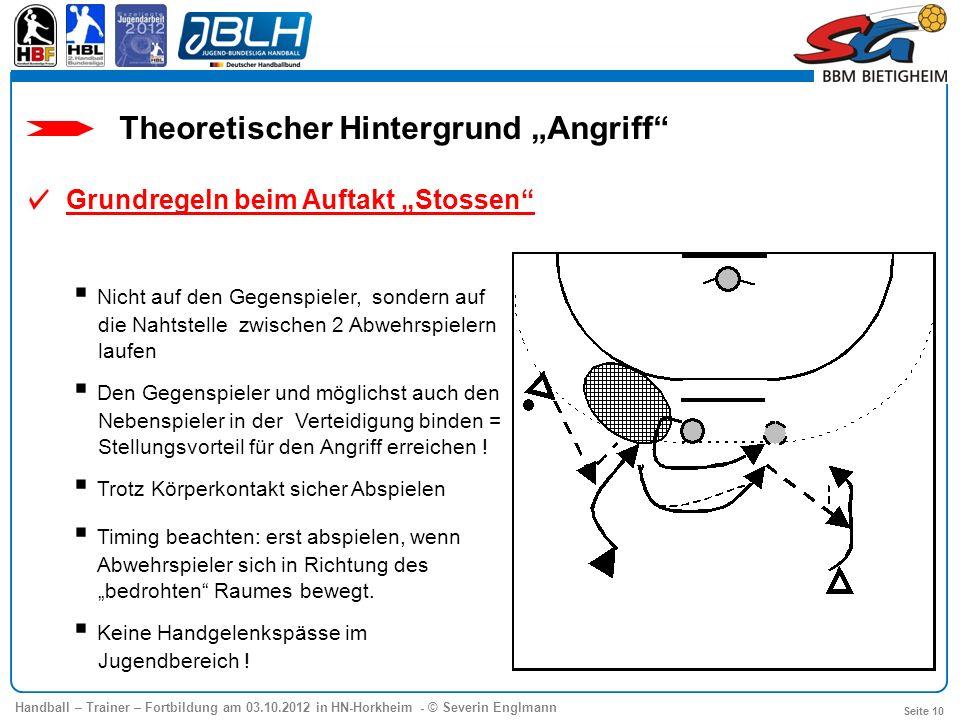 Handball – Trainer – Fortbildung am 03.10.2012 in HN-Horkheim - © Severin Englmann Seite 10 Theoretischer Hintergrund Angriff Grundregeln beim Auftakt