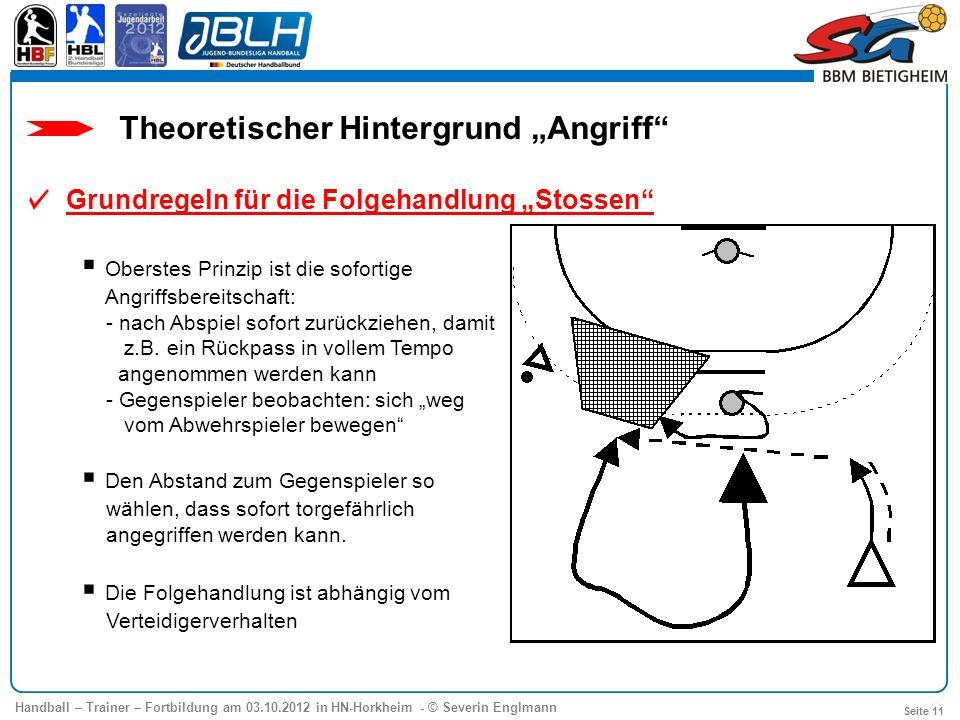 Handball – Trainer – Fortbildung am 03.10.2012 in HN-Horkheim - © Severin Englmann Seite 11 Theoretischer Hintergrund Angriff Grundregeln für die Folg
