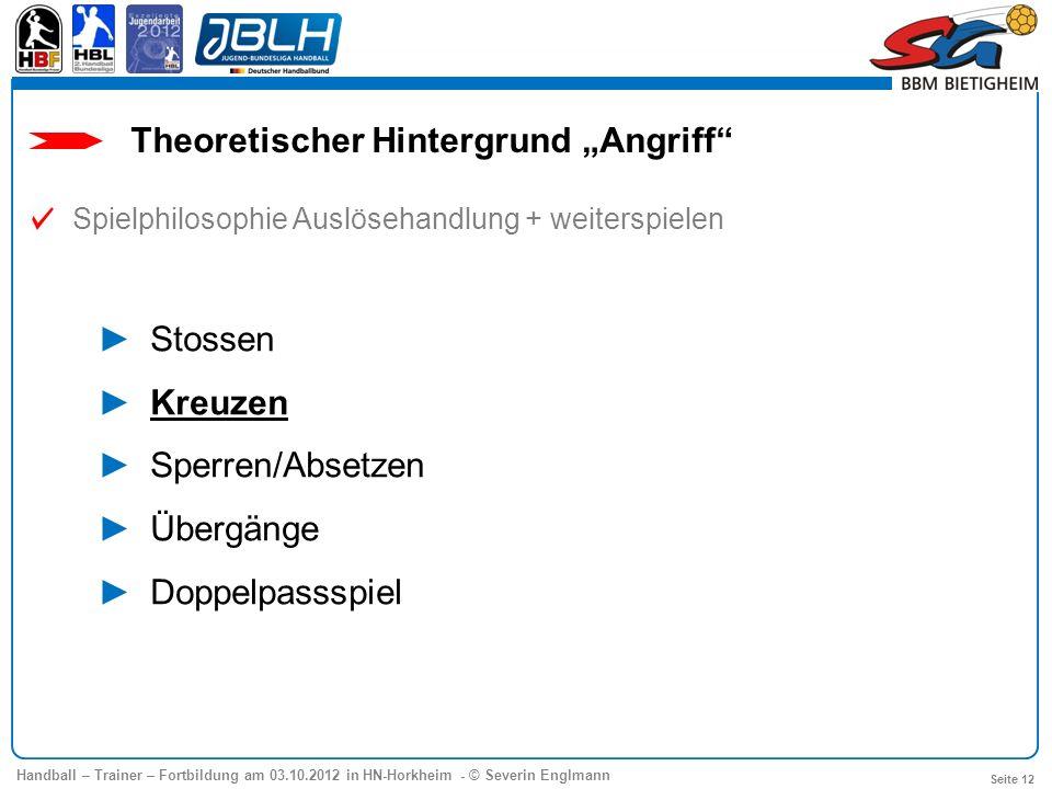 Handball – Trainer – Fortbildung am 03.10.2012 in HN-Horkheim - © Severin Englmann Seite 12 Theoretischer Hintergrund Angriff Spielphilosophie Auslöse