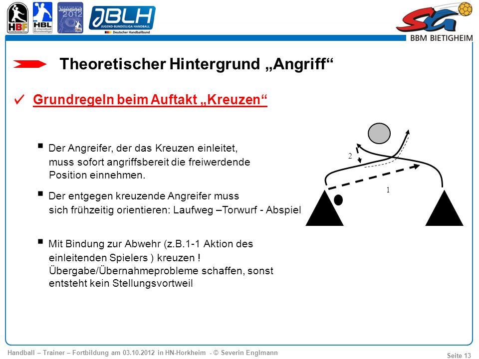 Handball – Trainer – Fortbildung am 03.10.2012 in HN-Horkheim - © Severin Englmann Seite 13 Theoretischer Hintergrund Angriff 1 2 Der Angreifer, der d