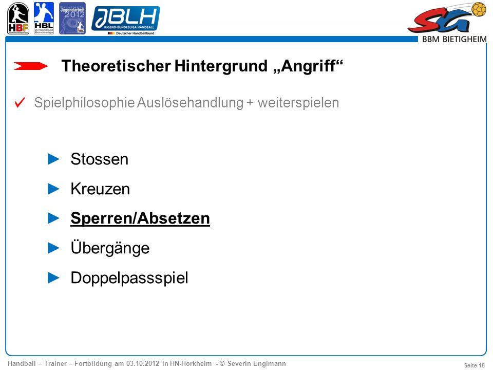 Handball – Trainer – Fortbildung am 03.10.2012 in HN-Horkheim - © Severin Englmann Seite 15 Theoretischer Hintergrund Angriff Spielphilosophie Auslöse