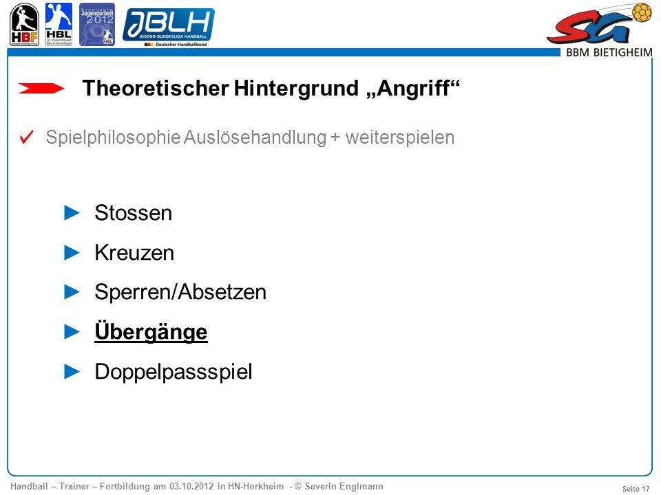 Handball – Trainer – Fortbildung am 03.10.2012 in HN-Horkheim - © Severin Englmann Seite 17 Theoretischer Hintergrund Angriff Spielphilosophie Auslöse