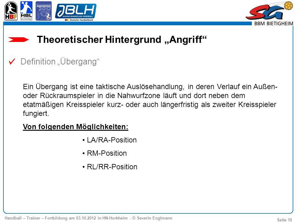 Handball – Trainer – Fortbildung am 03.10.2012 in HN-Horkheim - © Severin Englmann Seite 18 Ein Übergang ist eine taktische Auslösehandlung, in deren