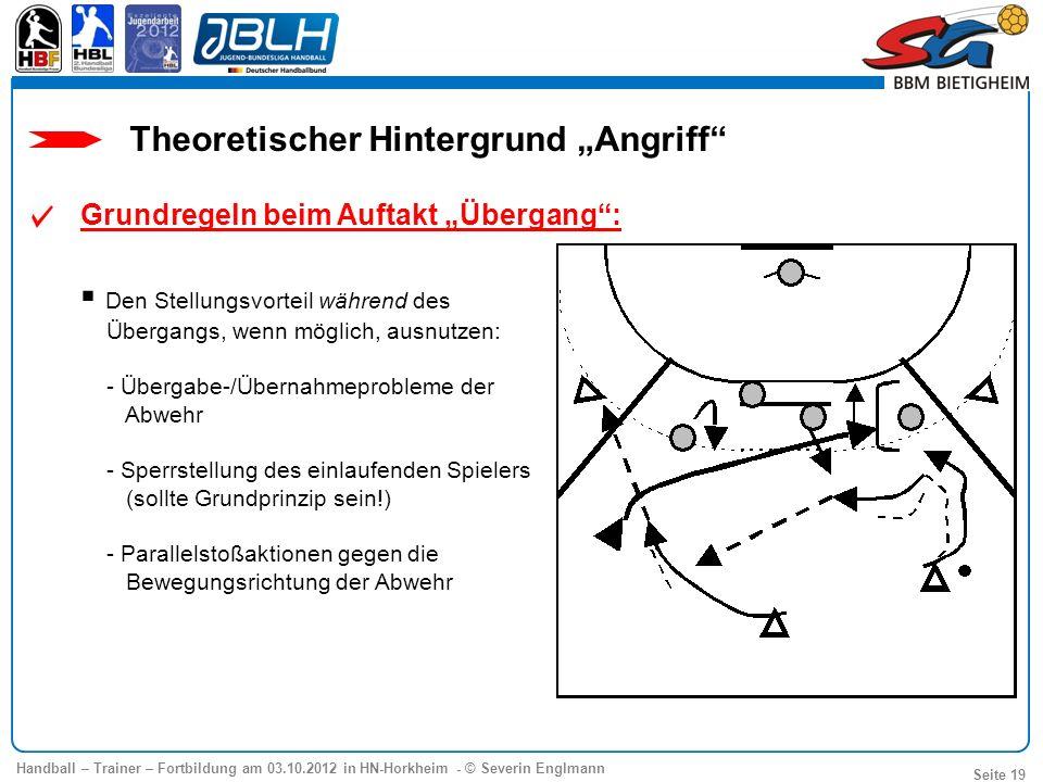 Handball – Trainer – Fortbildung am 03.10.2012 in HN-Horkheim - © Severin Englmann Seite 19 Grundregeln beim Auftakt Übergang: Den Stellungsvorteil wä