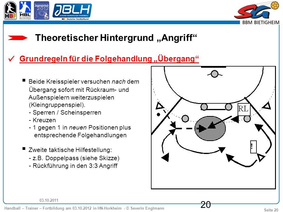Handball – Trainer – Fortbildung am 03.10.2012 in HN-Horkheim - © Severin Englmann Seite 20 03.10.2011 20 Beide Kreisspieler versuchen nach dem Überga