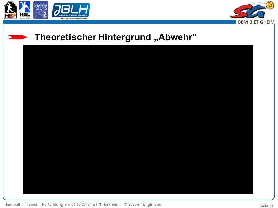 Handball – Trainer – Fortbildung am 03.10.2012 in HN-Horkheim - © Severin Englmann Seite 31 Theoretischer Hintergrund Abwehr