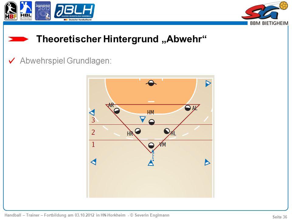 Handball – Trainer – Fortbildung am 03.10.2012 in HN-Horkheim - © Severin Englmann Seite 36 Abwehrspiel Grundlagen: Theoretischer Hintergrund Abwehr