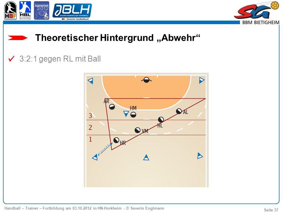 Handball – Trainer – Fortbildung am 03.10.2012 in HN-Horkheim - © Severin Englmann Seite 37 3:2:1 gegen RL mit Ball Theoretischer Hintergrund Abwehr
