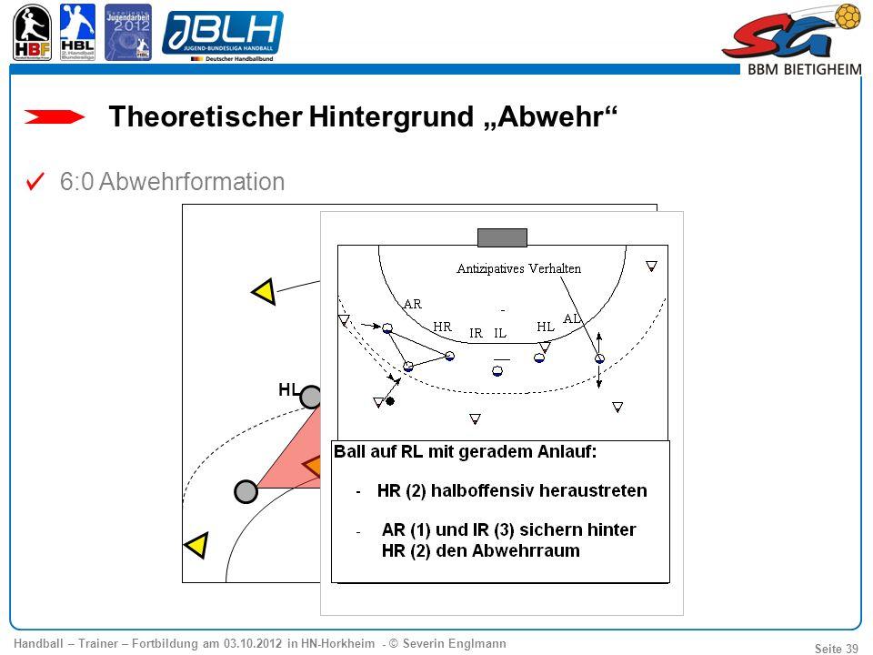 Handball – Trainer – Fortbildung am 03.10.2012 in HN-Horkheim - © Severin Englmann Seite 39 6:0 Abwehrformation Theoretischer Hintergrund Abwehr IR IL