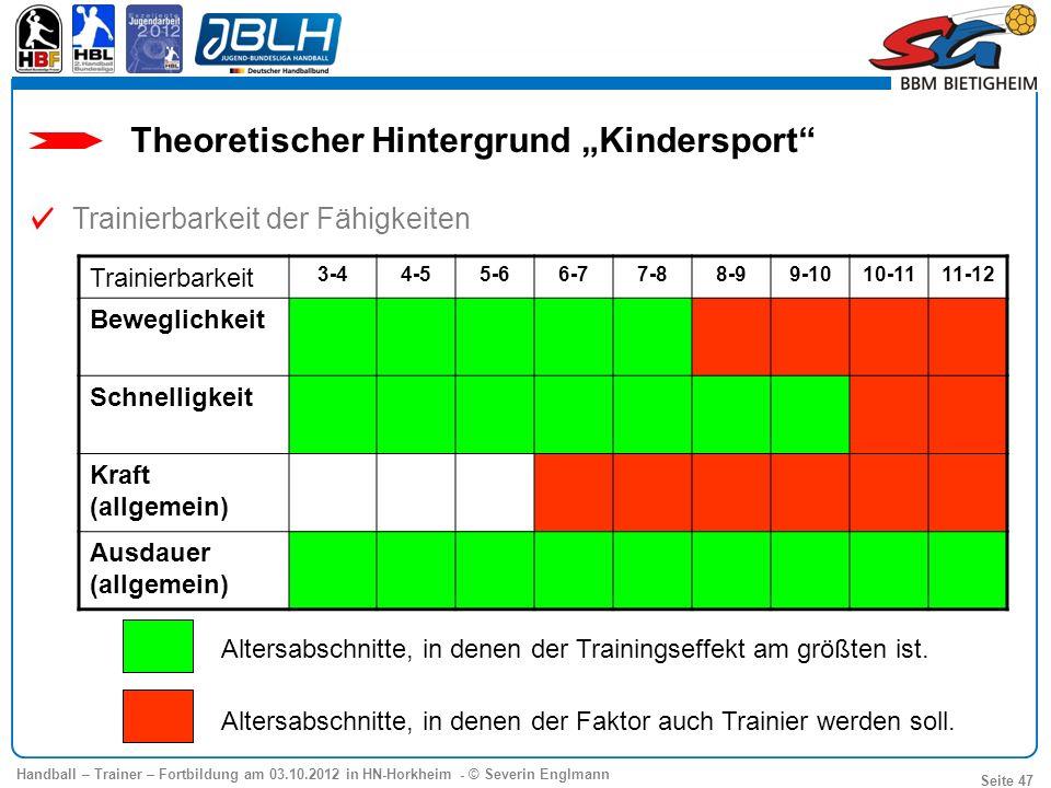 Handball – Trainer – Fortbildung am 03.10.2012 in HN-Horkheim - © Severin Englmann Seite 47 Trainierbarkeit 3-44-55-66-77-88-99-1010-1111-12 Beweglich