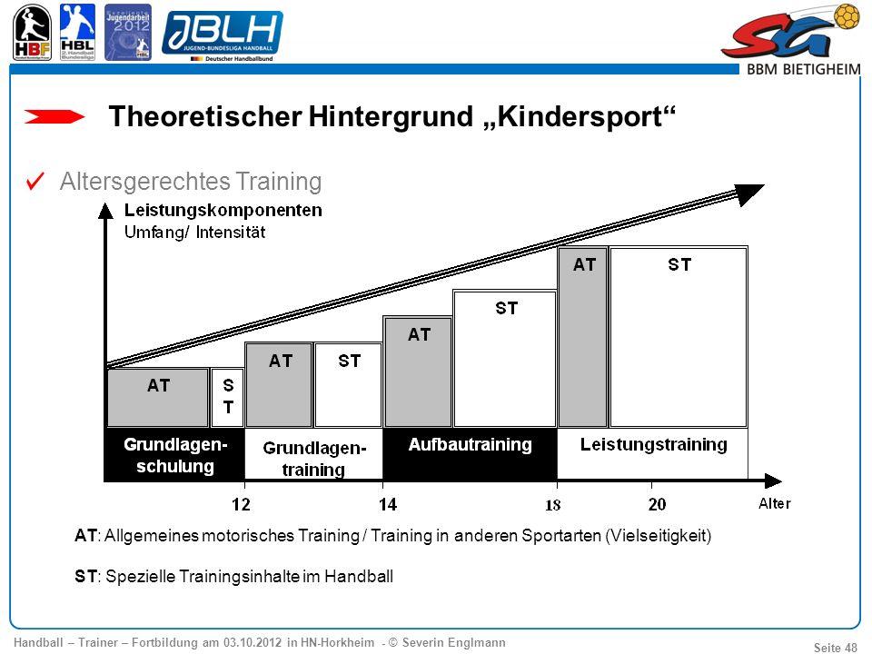 Handball – Trainer – Fortbildung am 03.10.2012 in HN-Horkheim - © Severin Englmann Seite 48 AT: Allgemeines motorisches Training / Training in anderen