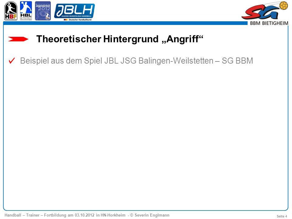 Handball – Trainer – Fortbildung am 03.10.2012 in HN-Horkheim - © Severin Englmann Seite 4 Theoretischer Hintergrund Angriff Beispiel aus dem Spiel JB