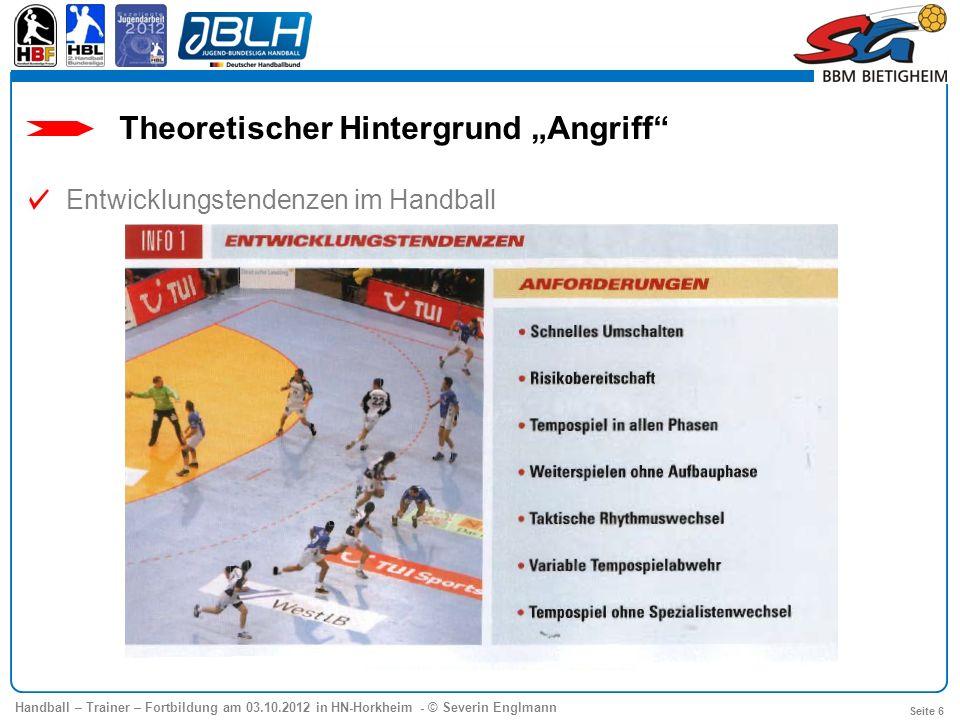 Handball – Trainer – Fortbildung am 03.10.2012 in HN-Horkheim - © Severin Englmann Seite 7 Theoretischer Hintergrund Angriff Entwicklungstendenzen im Handball
