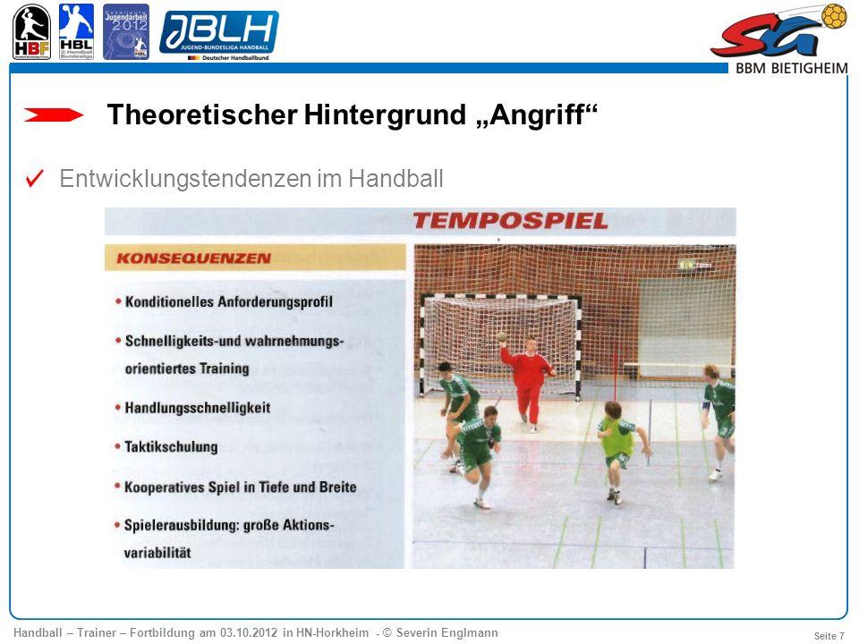 Handball – Trainer – Fortbildung am 03.10.2012 in HN-Horkheim - © Severin Englmann Seite 18 Ein Übergang ist eine taktische Auslösehandlung, in deren Verlauf ein Außen- oder Rückraumspieler in die Nahwurfzone läuft und dort neben dem etatmäßigen Kreisspieler kurz- oder auch längerfristig als zweiter Kreisspieler fungiert.