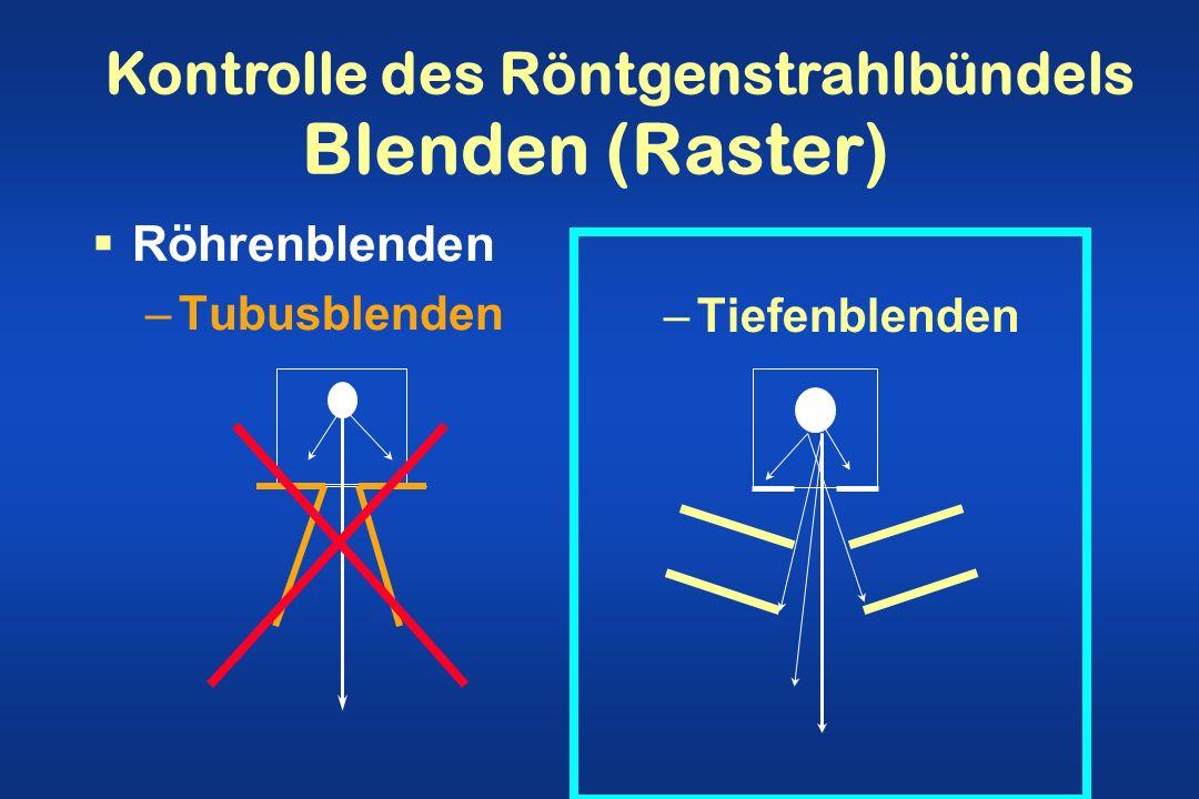 Blenden (Raster) Röhrenblenden –Tubusblenden –Tiefenblenden Kontrolle des Röntgenstrahlbündels