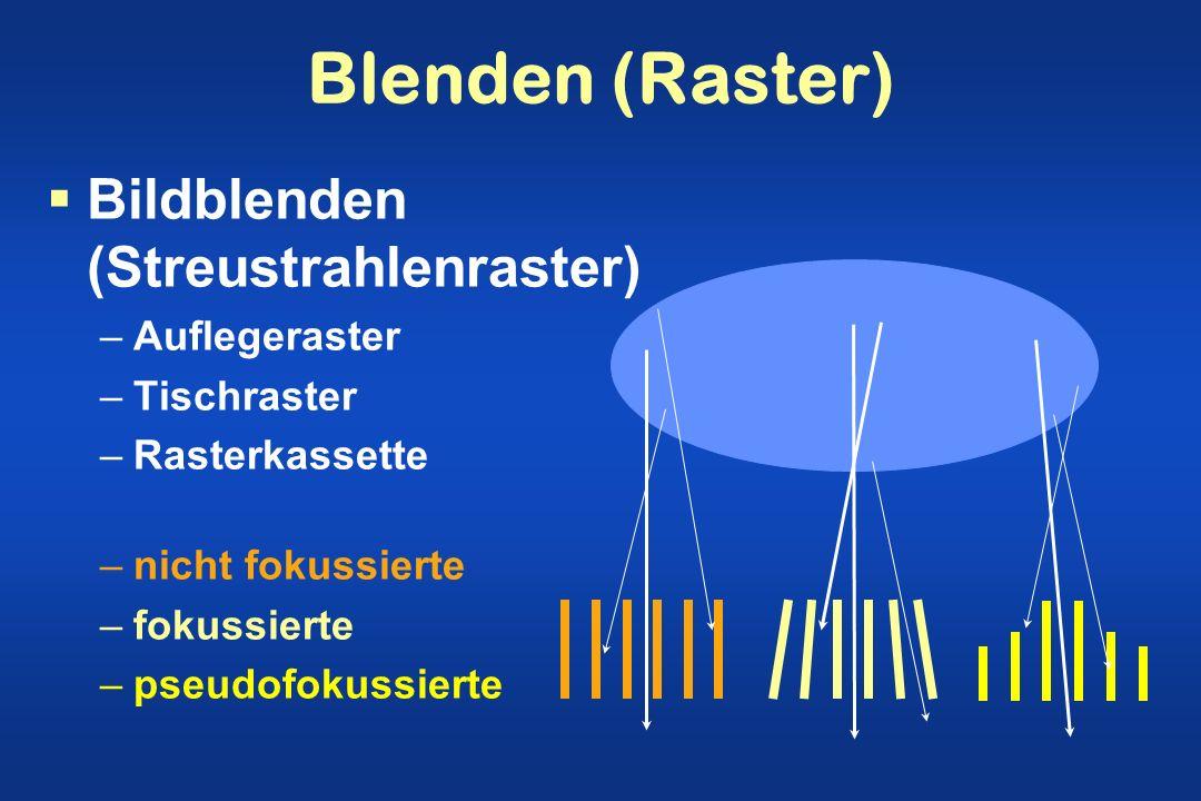Blenden (Raster) Bildblenden (Streustrahlenraster) –Auflegeraster –Tischraster –Rasterkassette –nicht fokussierte –fokussierte –pseudofokussierte