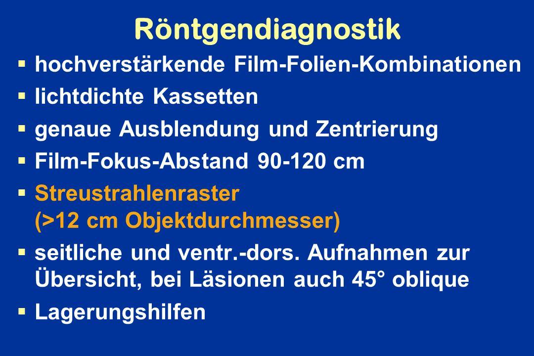 Röntgendiagnostik hochverstärkende Film-Folien-Kombinationen lichtdichte Kassetten genaue Ausblendung und Zentrierung Film-Fokus-Abstand 90-120 cm Str
