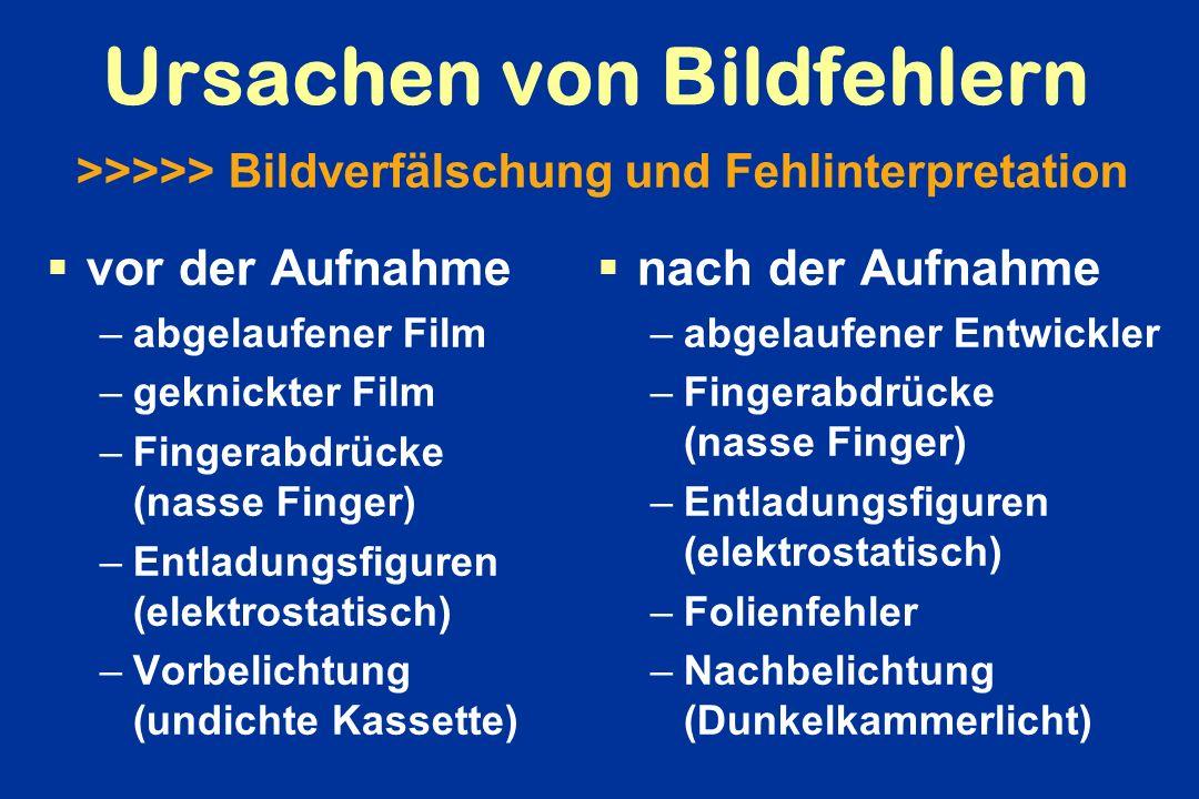 Ursachen von Bildfehlern vor der Aufnahme –abgelaufener Film –geknickter Film –Fingerabdrücke (nasse Finger) –Entladungsfiguren (elektrostatisch) –Vor